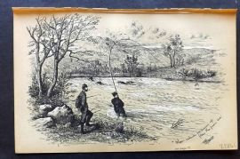 Fores's Sporting Notes C1890 Antique Print. Salmon Fishing